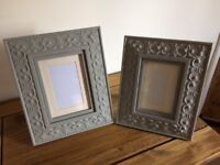 Two ornate picture - photo frames painted pale grey