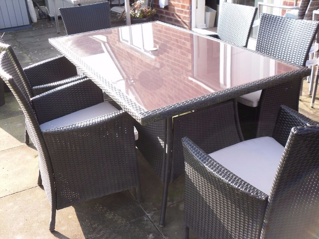 Panama 6 seater table chairs brown rattan effect garden furniture set in handforth cheshire - Garden furniture table and chairs ...