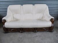 Ivory Leather 3-2-1 Oak Frame Suite (Sofa)