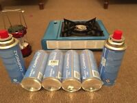 Gas stove, cp 250 gas catridges & lantern