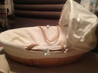 Brand new White Moses basket with blue bows