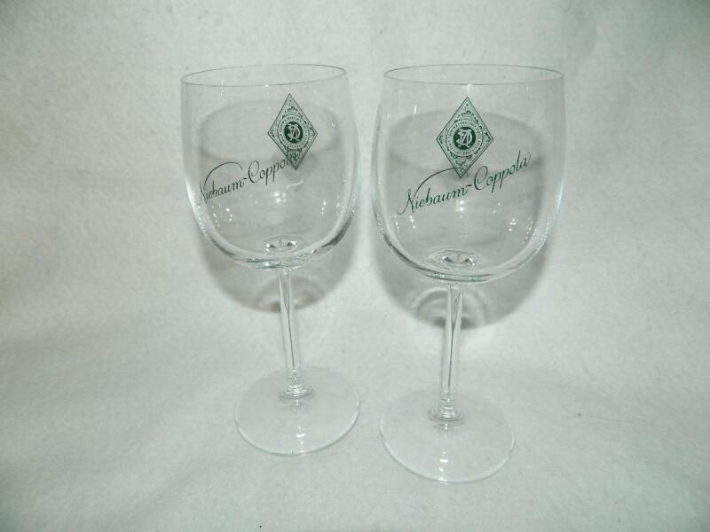 2 Niebaum Coppola Estate Winery Rutherford CA Green Print Wine Glasses w Diamond