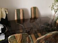 Family size glass dining table and chairs *Overall good condition* Cheap*