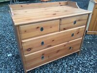Large solid pine two over two chest of drawers