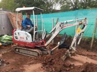Mini digger hire, self drive