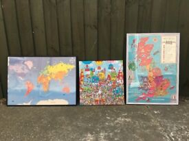 3 x pictures for children's bedroom. Framed Maps & where's wally canvas