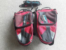 Motobike pannier bags, Oxford Lifetime Luggage expandable, red and black.