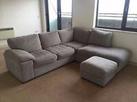 Price reduced! Right Corner Sofa, Grey fabric, 5+ seats PLUS storage footstool