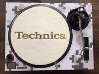 Technics SL-1210 MK2 Turntable With Custom White Digital Camo Cover