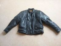 Men's black leather motorcycle jacket (large)