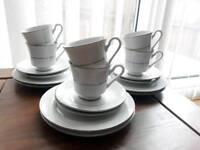 set of 6 tea cup saucer set lace wedding vintage style