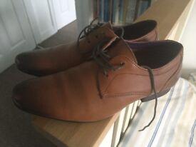 Boys leather formal firetrap tan shoes size 3