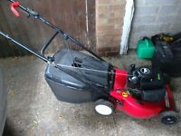 Petrol rotary lawn mower with grass box 4 stroke engine height adjustment vgc gwo