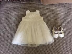 0-3 months Christening/Flower girl dress and shoes