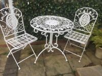 Metal Garden Table and Chairs Bistro 3 Set