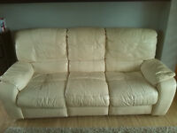 3 seater Leather sofa in cream, 2m long, good condition