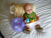 Baby Born interactive Magic Eyes BOY doll with dummy, potty and Horse