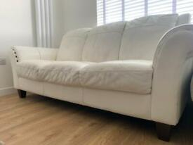 3 seater sofa white leather