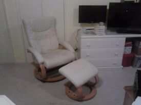 2 reclining faux leather chairs and stools