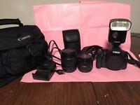 Canon T2i with extra lens and external flash