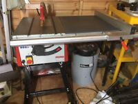 Axminster cast iron table saw with extension table, stand and new blade save £150 on rrp