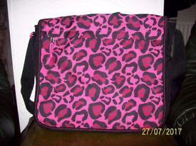Girls Pink Leopard Print School Bag