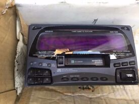 Clarion double din radio and tape deck with remote and manual