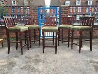 Bar Chairs - Bar Stools - Set Of 6 Bar Chairs - Very Tall Bar Chairs - Good Condition