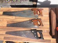 "TRIO of Henry Disston hand saws. 26"" hands - 22"" handsaw - 22"" handsaw (plastic)"
