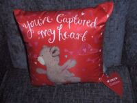 CUSHION RED WITH BEAR YOUVE CAPTURED MY HEART BNWT APPROX 30CM X30CM