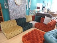 Opulent 5 piece Button Chesterfield corner sofa with Velvet touch fabric.