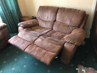 2 Seater Sofa Recliner Leather/Suede effect