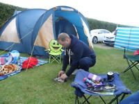 family size tent sleeps 6 & camping gear inc electric hook up, heater picnic table much more