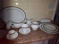 54 piece white/green dinner service