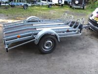 2011 HEAVY DUTY TRIPLE MOTORCYCLE TRANSPORTER TRAILER FULLY GALVANISED WITH PAIR OF RAMPS