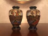 rare pair of early 1900's Japanese Cobalt Blue with Gold trim decorative Satsuma Vases. 13cm's Tall