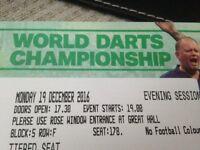 darts pdc world darts champship pair of tickets