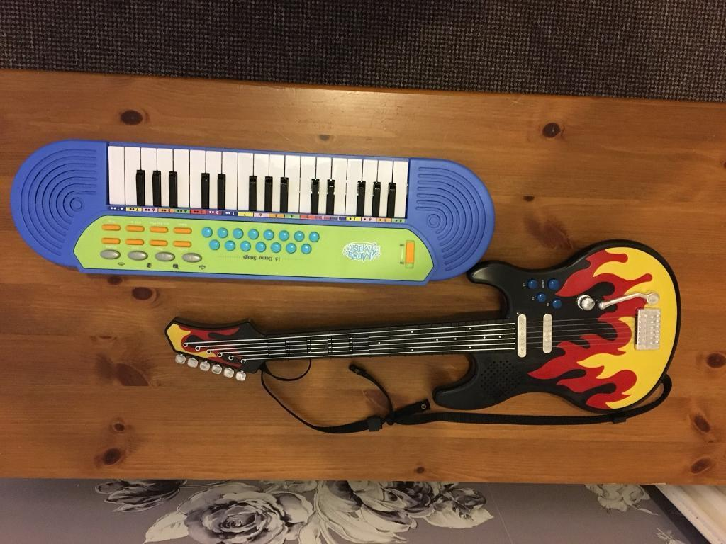 Used musical piano and guitar