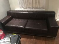 Leather 3 seater corner and large 2 seater with large stool