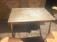 Vintage Steel Table .. Petina Look .... Can Deliver ... Chairs if Needed