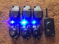 3 x fox Rx digital alarms blue carp fishing