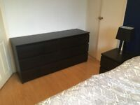 Bedroom furniture: Bed Frame, 2 x MALM bedside cabinets and 1 x MALM set of 6 drawers.