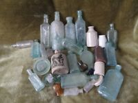 A COLLECTION OF OLD BOTTLES ETC. SOME NAMED.