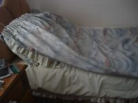 """One pair, each curtain measures approx 7' 6"""" long x 9' wide, with brass pole"""