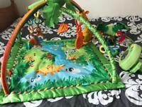Fisher Price Baby rainforest play gym and peek a boo cot mobile. Excellent condition