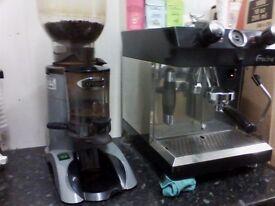 Coffee espresso machine (FRACINO) with coffee bean grinder