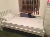 John Lewis Wilton White single bed frame with brand new John Lewis matress