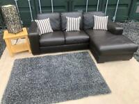 💥Luxury Barker & Stonehouse®️ Brown Italian Leather L-Shape/Corner Sofa For Sale £220💥