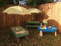 Step2 Picnic Rustic Woodland Table Bench & Umbrella Parasol
