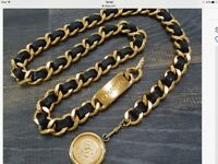 Chanel Gold Plated and Black Leather CC Logo Vintage Chain Belt